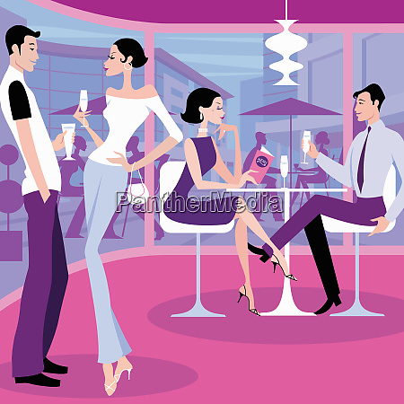 couples drinking together in bar