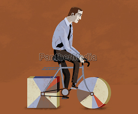 businessman riding bicycle with round and
