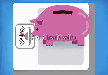 piggy bank on weight scale
