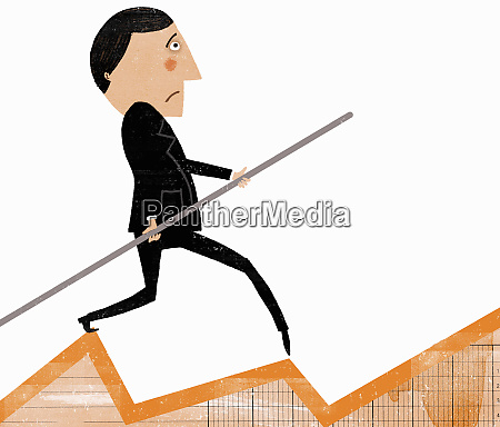 worried businessman on tightrope chart