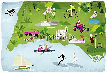 montage of people enjoying summer leisure