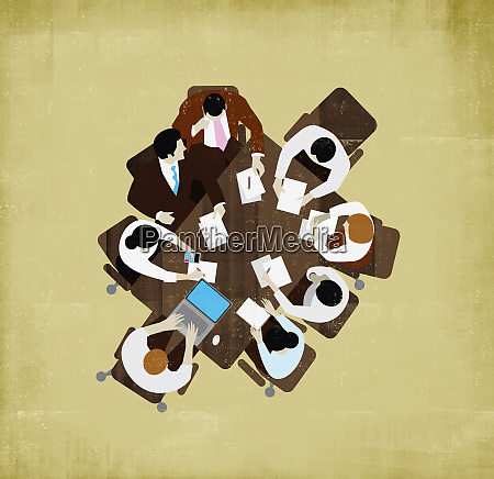 overhead view of business people meeting