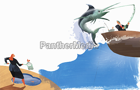 businesswoman catching small fish businessman catching