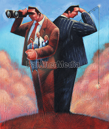 businessmen one with fishing rod and