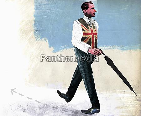 top half of british businessman heading