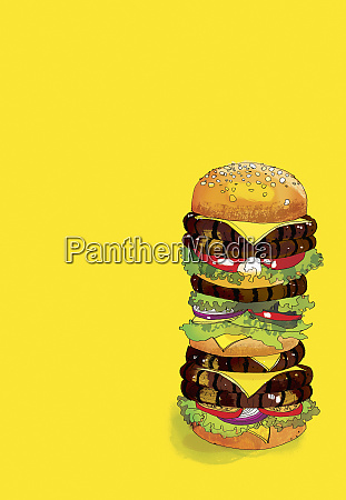 large many layered hamburger