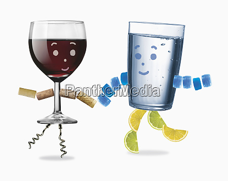 glass of water and red wine