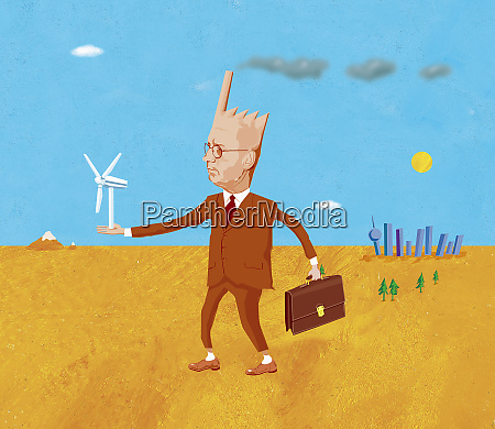 businessman with factory shaped head