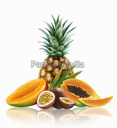 range of fresh tropical fruit