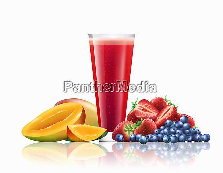 glass of mango strawberry and blueberry