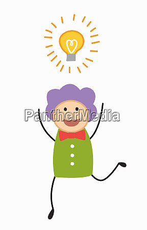 excited happy woman with light bulb