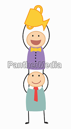 businessman standing on shoulders of colleague