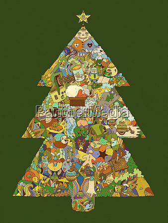 christmas tree decorated in surreal colorful