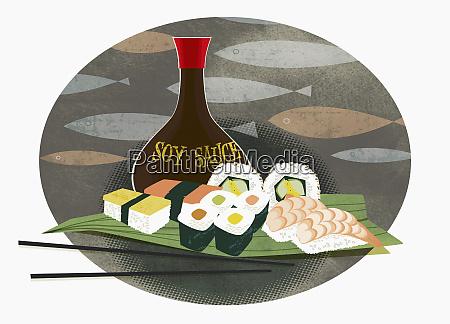 sushi sashimi and soy sauce
