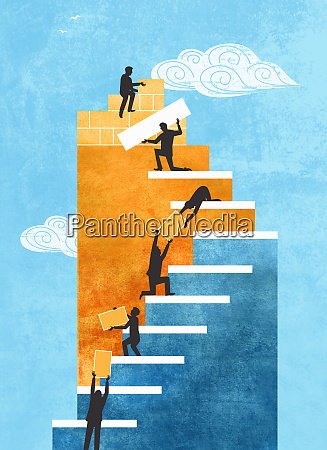 people cooperating to build staircase
