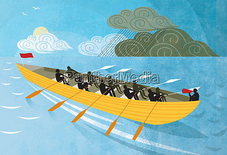team rowing boat from rain clouds