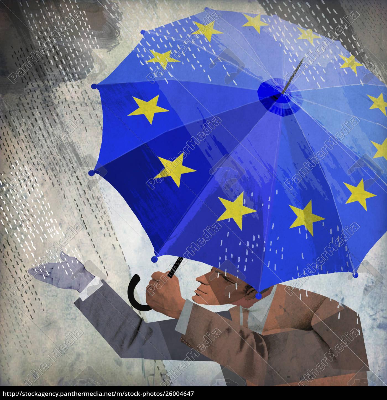businessman, checking, rain, from, under, european - 26004647
