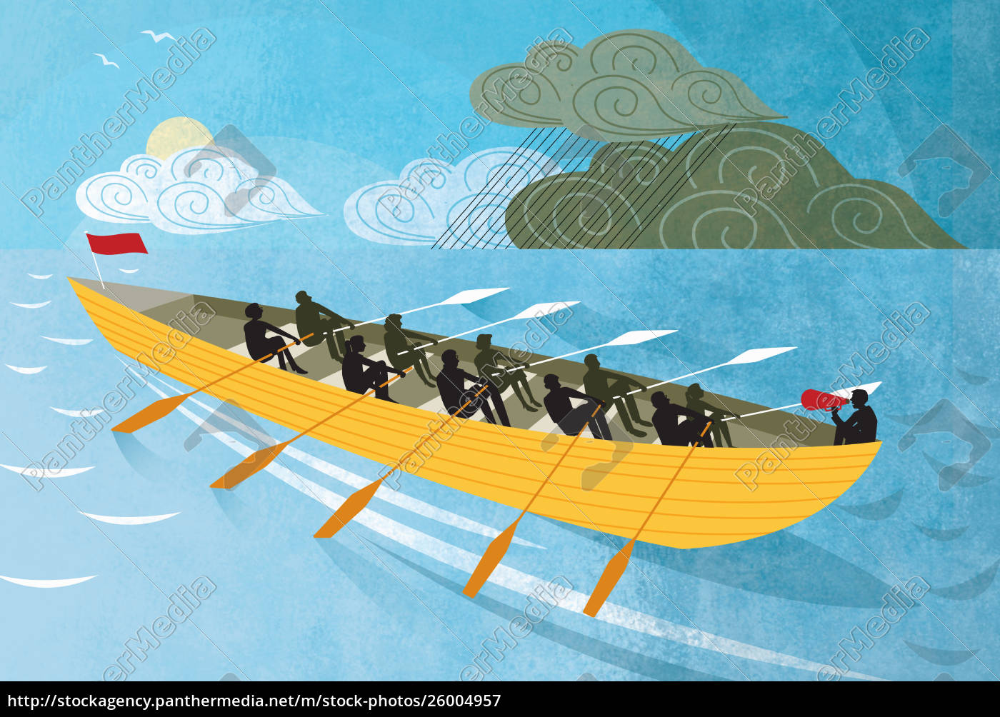 team, rowing, boat, from, rain, clouds - 26004957