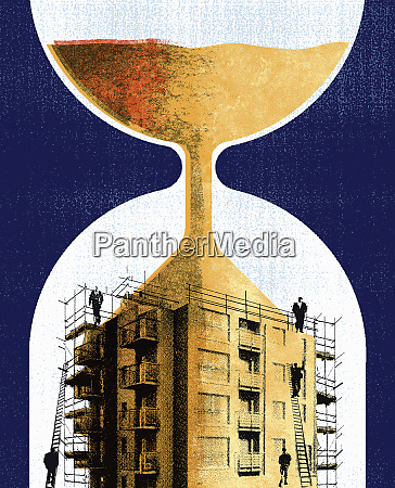 hourglass sand running into building with