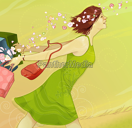 happy woman running with shopping bags