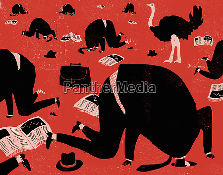 businessmen putting their heads in holes