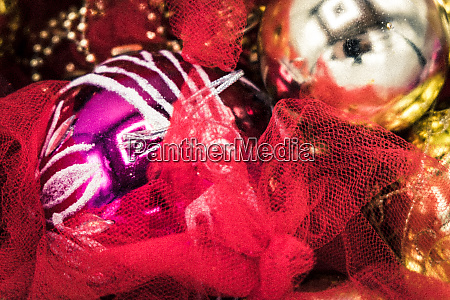 christmas balls and ornaments and fabric