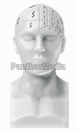 dollar signs covering brain on bust