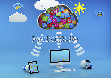 computer and computer tablets connected via