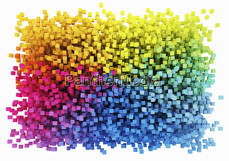 multicolored cubes arranged in rectangle shape