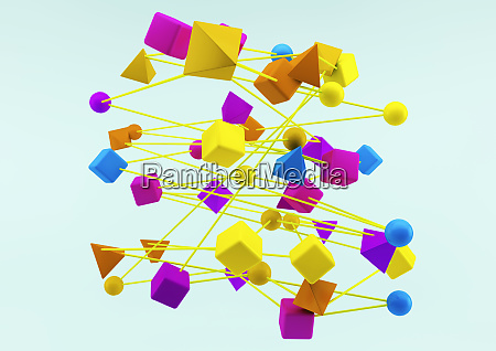 connected multicolored geometric shapes on blue