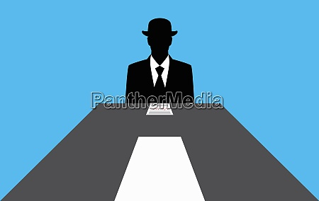 faceless businessman sitting at conference table