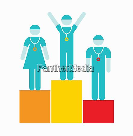 doctors and nurse on award podium
