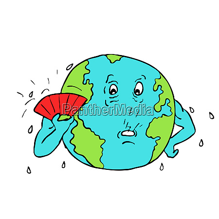 earth global warming drawing color