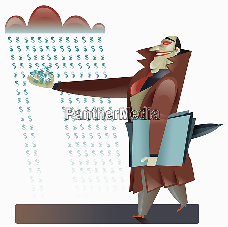 businessman catching dollar sign shaped raindrops