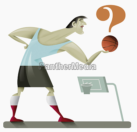man holding question mark shaped basketball