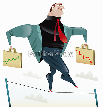 businessman balancing with briefcase charts on