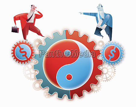 businessman walking on cogs with currency