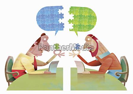 businessmen communicating using digital tablet to