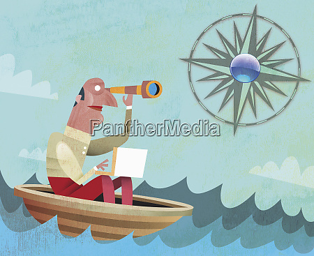 man in boat looking through telescope