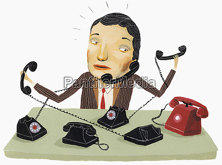 businessman trying to answer multiple phones