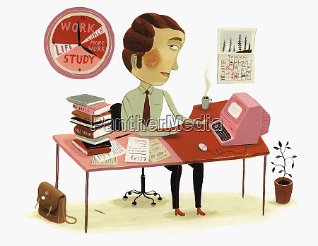 man working at desk and watching