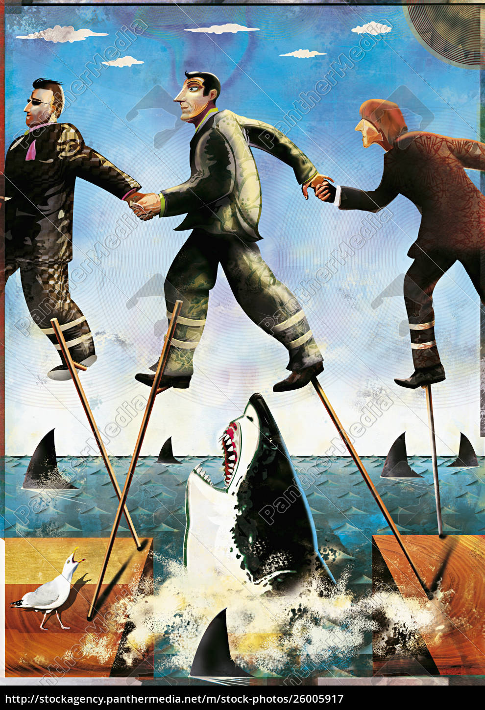 businessmen, on, stilts, walking, through, shark-infested - 26005917