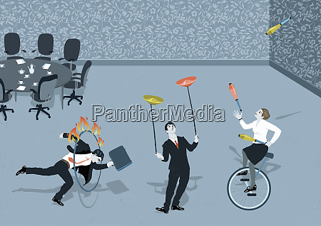 business people struggling to do circus