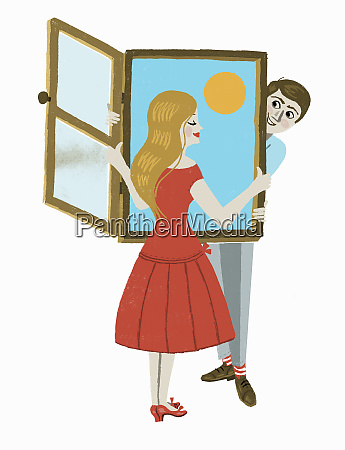young couple holding open window with