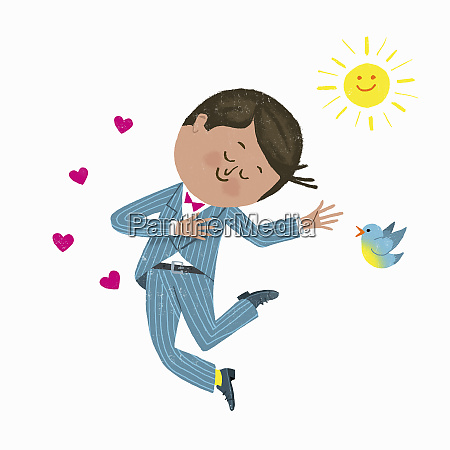 happy man in love jumping for