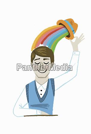 happy man lifting hat with rainbow