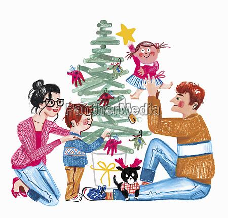 happy family decorating christmas tree