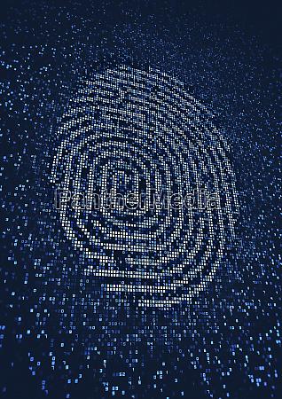 fingerprint lit up on huge digital