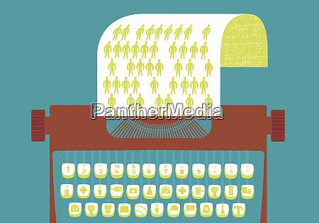 skrivemaskine med grafik taster der repraesenterer