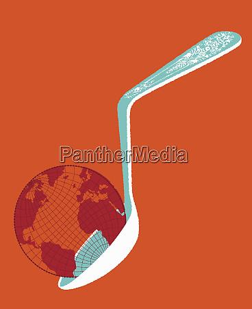 heavy globe on bent spoon